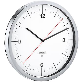 Blomus wall clock radio CRONO matt stainless steel clock combined with clear glass
