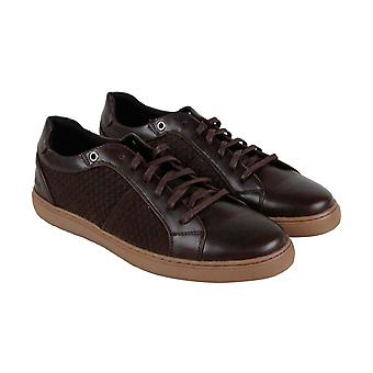 Robert Wayne Gregory  Mens Brown Leather Lace Up Low Top Sneakers Shoes