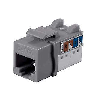 Cat6A 90 Degree Unshielded Punch Down Keystone Jack  Dual Type IDC  25 Pack by Monoprice