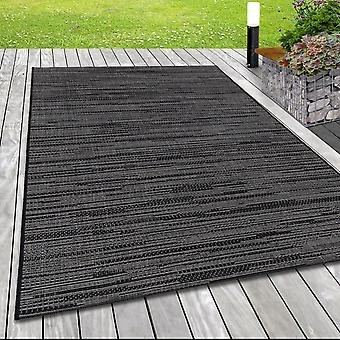 In& & Outdoor flat fabric rug sisal optic terraces balcony solid color grey