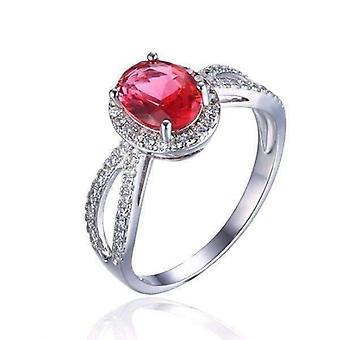 Roze tourmaline ovale cut 1.7ct iobi edelstenen halo ring
