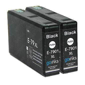 2 Fekete tintapatron az Epson T7901 (79XL sorozat) cseréjére Kompatibilis/nem OEM-rel a Go inkekből