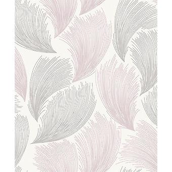 Grey Pink Glitter Feather Embossed Wallpaper Paste The Wall Vinyl Rasch