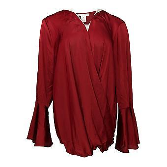 Masseys Women's Plus Top Silky Wrap V-Neckline Dark Red
