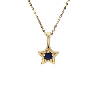 Classic Single Stone Round Sapphire Star Pendant Necklace in 9ct Yellow Gold 135P1874019
