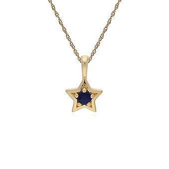 Classic Single Stone Pyöreä Sapphire Star riipus kaulakoru 9ct Keltainen Kulta 135P1874019