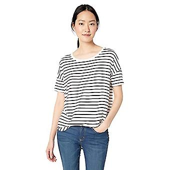 Brand - Daily Ritual Women's Jersey Rib Trim Drop-Shoulder Short-Sleeve Scoop-Neck Tunic Shirt, White-Navy Stripe, Medium