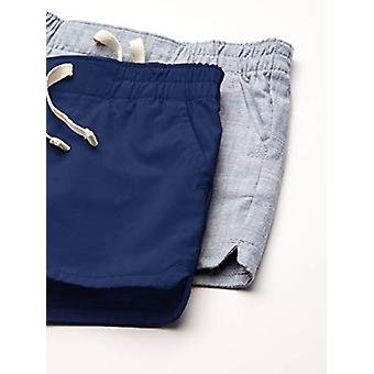 Essentials Girls' 2-Pack Pull-On Shorts Tecidos, Marinha/Chambray, Pequeno