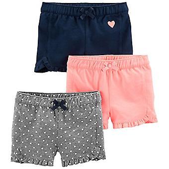 カーター&アポスによるシンプルな喜び;sベビーガールズ&アポス;幼児3パックニットショートパンツ、ピンクグレー、ネイビー、5T