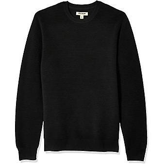 Goodthreads Men's weiche Baumwolle Ottoman Stitch Crewneck Pullover, schwarz, Medium
