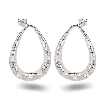 ADEN 925 Sterling Silver White Mother-of-pearl Pear Shape Earrings (id 4215)
