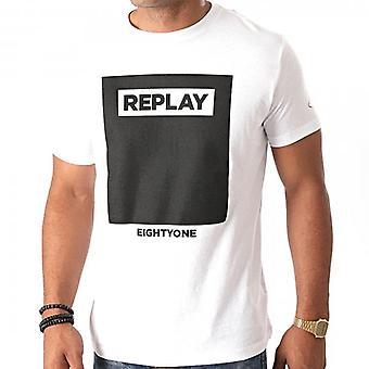 Replay Logo Print T-skjorte hvit M3165