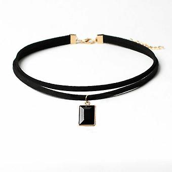 Leather Collar Necklace with Geometric Pendant