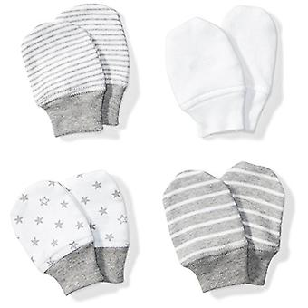 Moon and Back Baby Set of 4 Organic Cap and Mitten Sets, Grey Heather, 0-6 Months