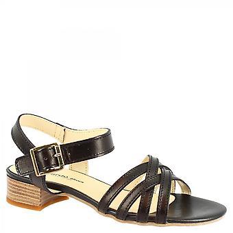 Leonardo Schuhe Frauen's handgemachte Low Heels Sandalen aus schwarzem Kalbsleder mit Knöchel Band Verschluss