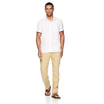 28 Palms Men's Standard-Fit Short-Sleeve 100% Linnen shirt, Wit, XX-Large