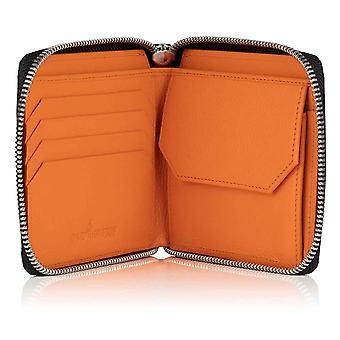 Black Malvern Leather Men's Zipped Coin Wallet Lined in Orange