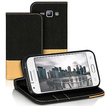 Mobilfordral Jeans for Samsung Galaxy J1 Leatherette Card Holder Phone Protection