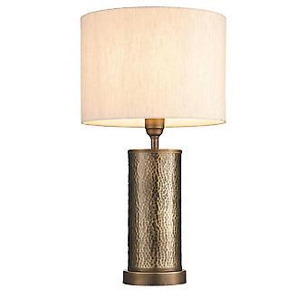 Endon Indara - 1 Light Table Lamp Aged Bronze, Aged Hammered Bronze Plate, E27