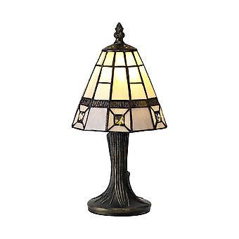 Éclairage Luminosa - Lampe de table Tiffany, 1 x E14, Gris, Ombre en cristal clair