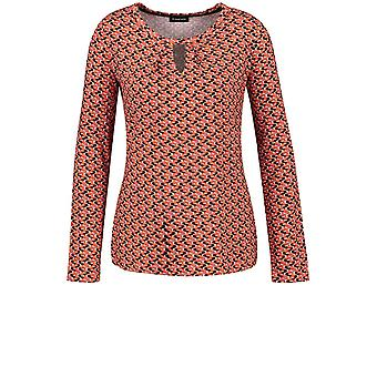 Taifun Red Patterned Jersey Top