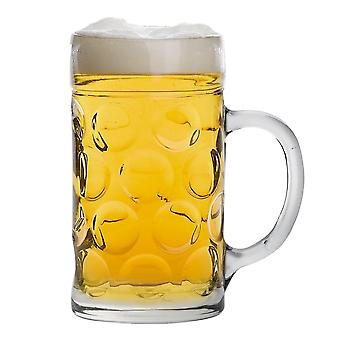 Rink Drink German Beer Stein Mug - Large Dimpled Glass Tankard with Handle - 1.3L (2 Pints)