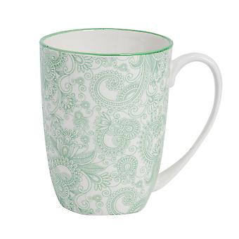 Nicola Spring Paisley Patterned Tea and Coffee Mug - Large Porcelain Latte Cup - Green - 360ml