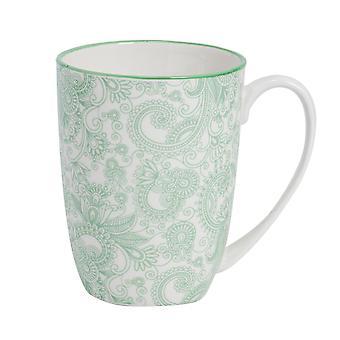 Nicola Spring Paisley Kuvioitu tee- ja kahvimuki - Suuri posliini latte kuppi - vihreä - 360ml