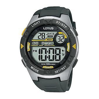 Lorus Men Digitaal Horloge met houtskoolgrijs zacht siliconenband (R2397MX9)