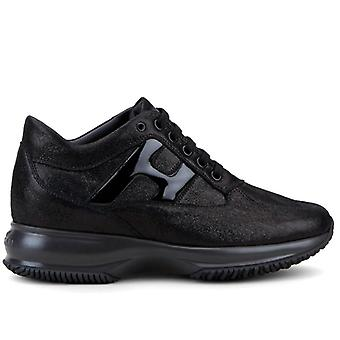 Damen Hogan Interactive Black Sneaker mit H Paint