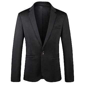 YANGFAN Herren Solid Color Blazer Single Breasted Anzug Jacke 1 Knopf Casual Mantel