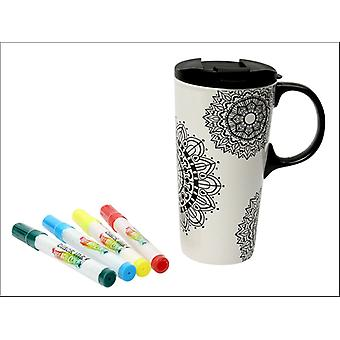 Dexam Just Add Colour Travel Mug Mandala 17558351