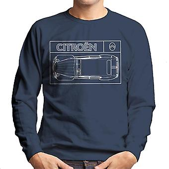 Citro?n 2CV White Diagram Top View Men's Sweatshirt