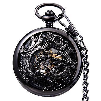 JIJIA JX024 Dragon Und Phoenix mit Perlen mechanische Uhr Taschenuhr