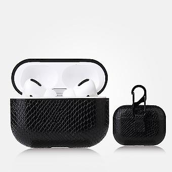Odporna na wstrząsy skórzana obudowa z metalową klamrą do Apple AirPods Pro Black #2
