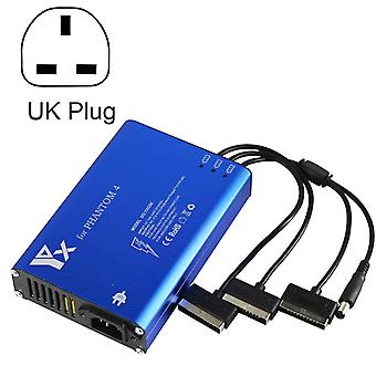 Pour DJI Phantom 4 Pro Advanced+ Charger 4 en 1 Chargeur intelligent de contrôleur de batterie hub, Plug Type:UK Plug