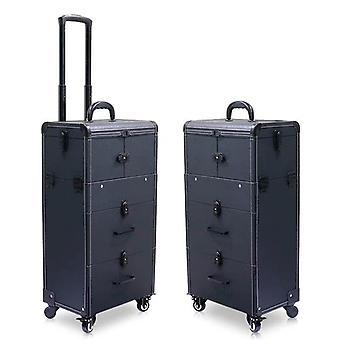 Carrello di grande capacità custodia cosmetica rotolamento bagagli borsa / chiodi Trucco Toolbox