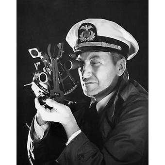 Kaptajn ved hjælp af en sekstant plakat Print