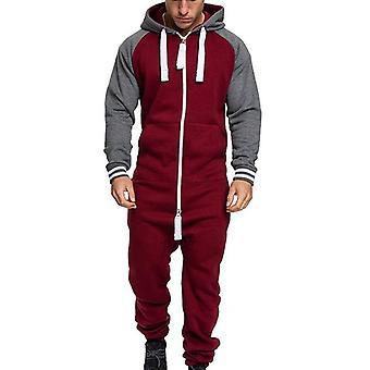 Men One-piece Garment Pajama, Playsuit, Zipper Hoodie, Camouflage Print