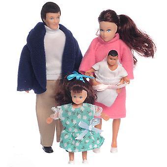 Puppen Haus moderne Brünette Familie von 4 Menschen Mama Papa Tochter Baby 01:12 Maßstab