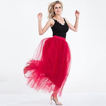 4 Layers 100cm Floor-length Women Elegant High Waist Pleated Tulle Skirt