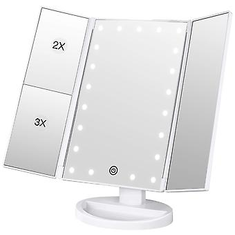 Bestope lighted makeup mirror 2x/3x magnification vanity mirror tri-fold make up mirror table mirror