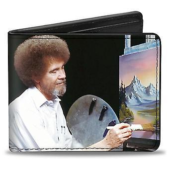 Боб Росс Палитра Картина Поза с автографом Bi-Fold Кошелек