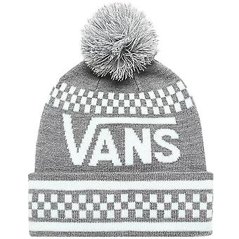 Vans Girls Keep It Cozy Cuffed Fine Knit Winter Warm Beanie Bobble Hat - Grey