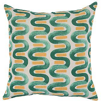 Almohada de lanzamiento de tela con diseño curvo repetido pintado, verde