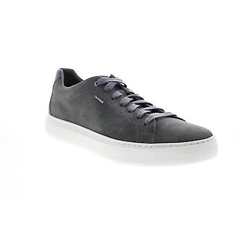 Geox U Deiven Mens Gray Suede Euro Sneakers Chaussures