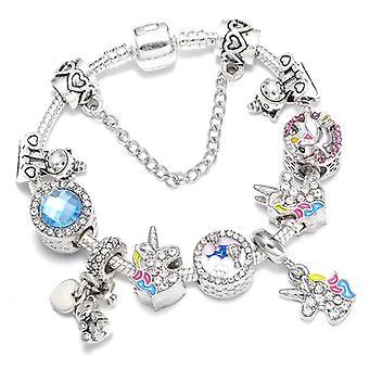 Vintage Silver Charms, Crystal Beads Bracelets Set-1