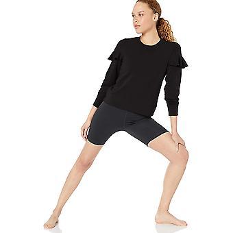 Brand - Core 10 Women's Cloud Soft Yoga Fleece Ruffle Sleeve Crew Sweatshirt, Black, X-Small