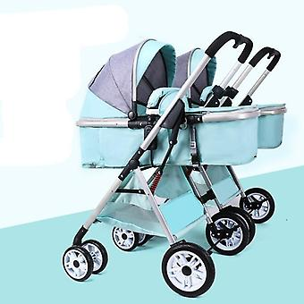 Twin Baby Strollers Detachable Landscape Lightweight Folding Shock Sleeping