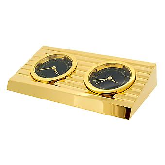 GTP 2 Time Zone Wedge Goldtone Plated On Solid Brass Novelty Desktop Collectors Miniature Clock IMP407B-G